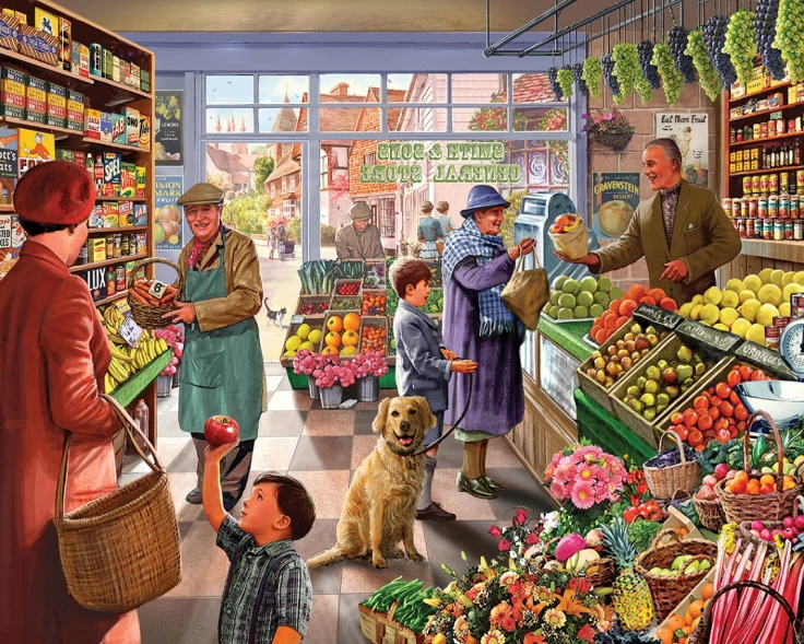 scene in a greengrocer's shop in 1950's.