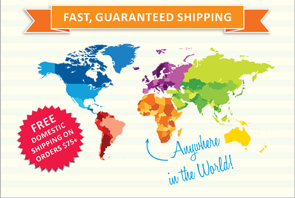 Free domestic shipping on all orders over $75. Ships anywhere in the world!