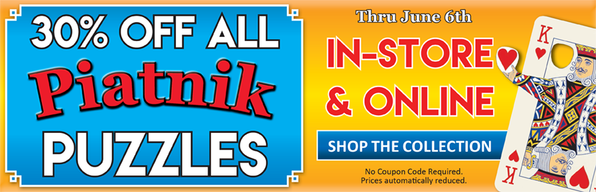 Save 30% Off All Piatnik Puzzles, now thru June 6th! No Coupon Code Required.