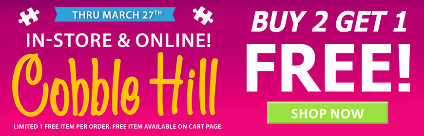Buy 2 Get 1 Free All Cobble Hill Puzzles Now thru March 27th!