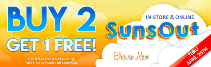 Buy 2 Get 1 Free All SunsOut Items! Now thru April 25th!