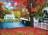 KODAK Premium Puzzles - Covered Bridge Crossing River to Church, Stark, New Hampshire Fall Jigsaw Puzzle