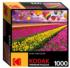 Sunset Balloons Over Tulip Field Flowers Jigsaw Puzzle