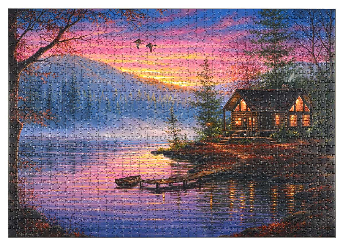 Cabin Scene Lakes / Rivers / Streams Jigsaw Puzzle