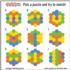 Hexagon Matching Puzzle Educational Shaped Puzzle