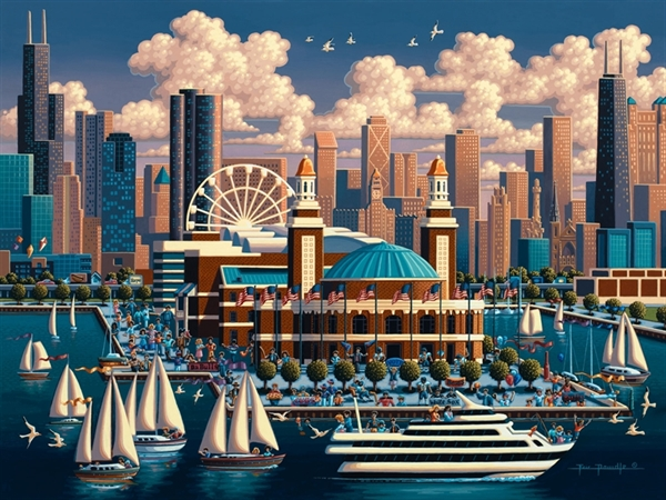 Chicago Navy Pier Skyline / Cityscape Jigsaw Puzzle