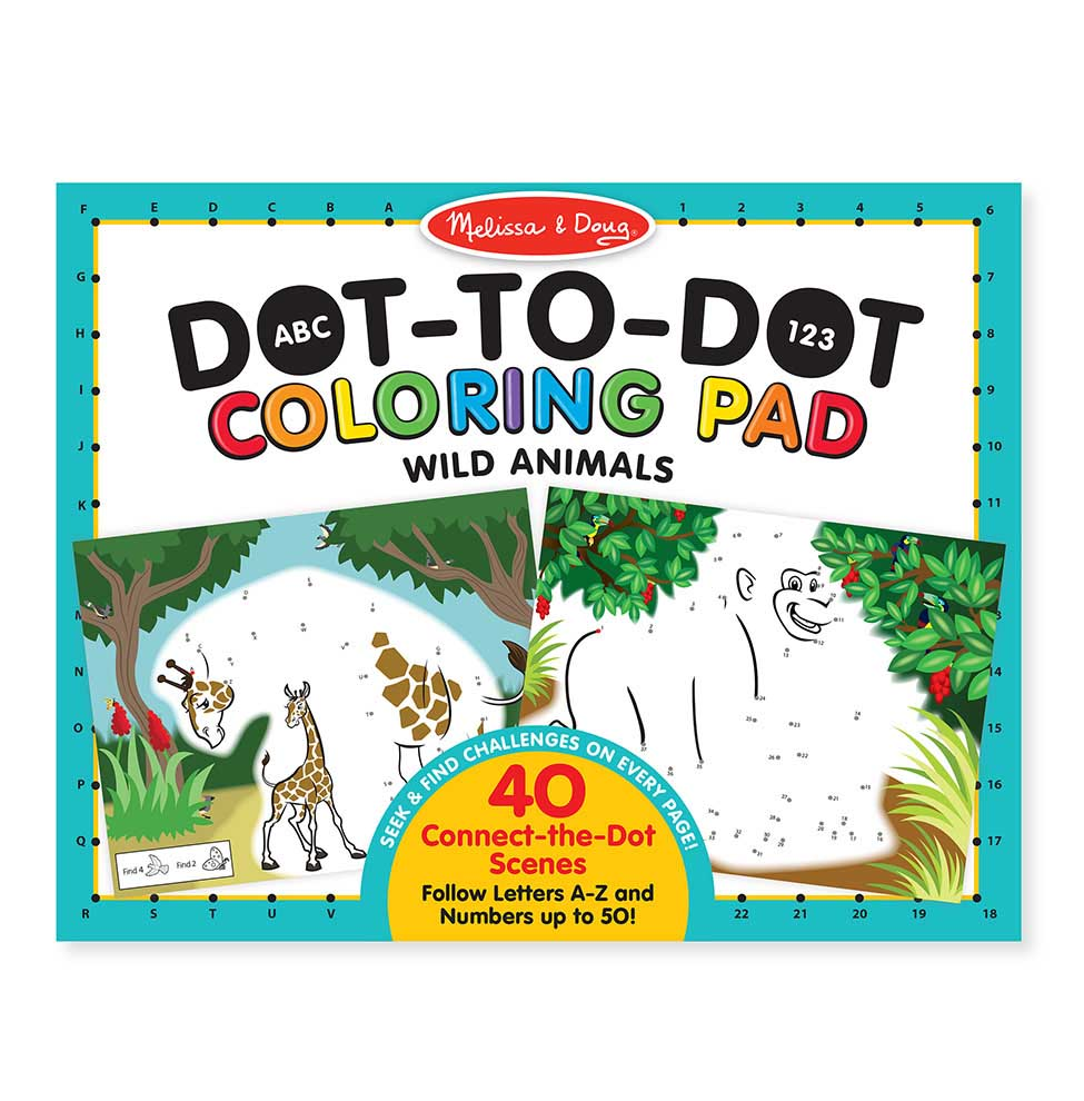 ABC 123 Dot-Dot Coloring Pad - Wild Animals Animals