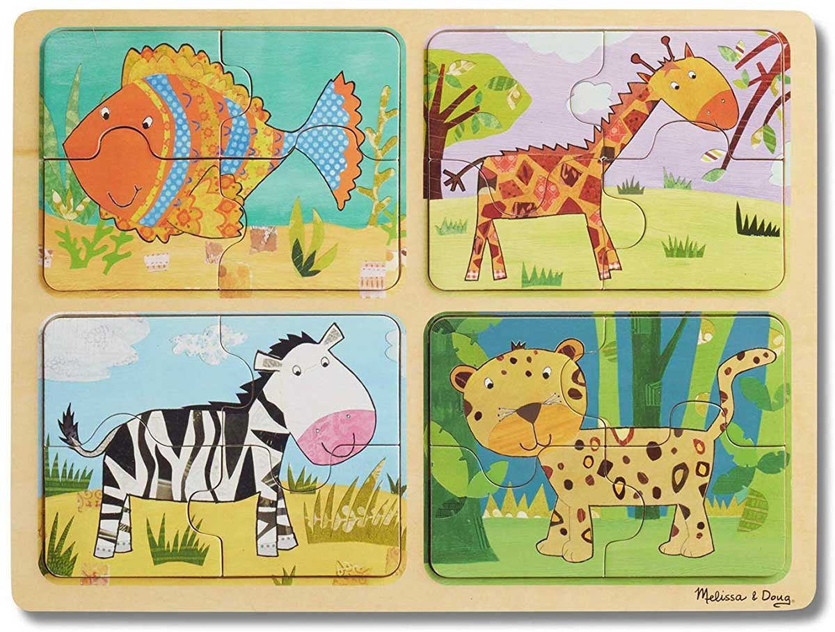 Green Start Wooden Puzzle - Animal Patterns Animals Jigsaw Puzzle