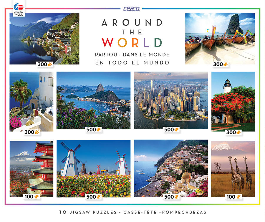 Around the World 10-in-1 Multi-Pack - Scratch and Dent Travel Jigsaw Puzzle