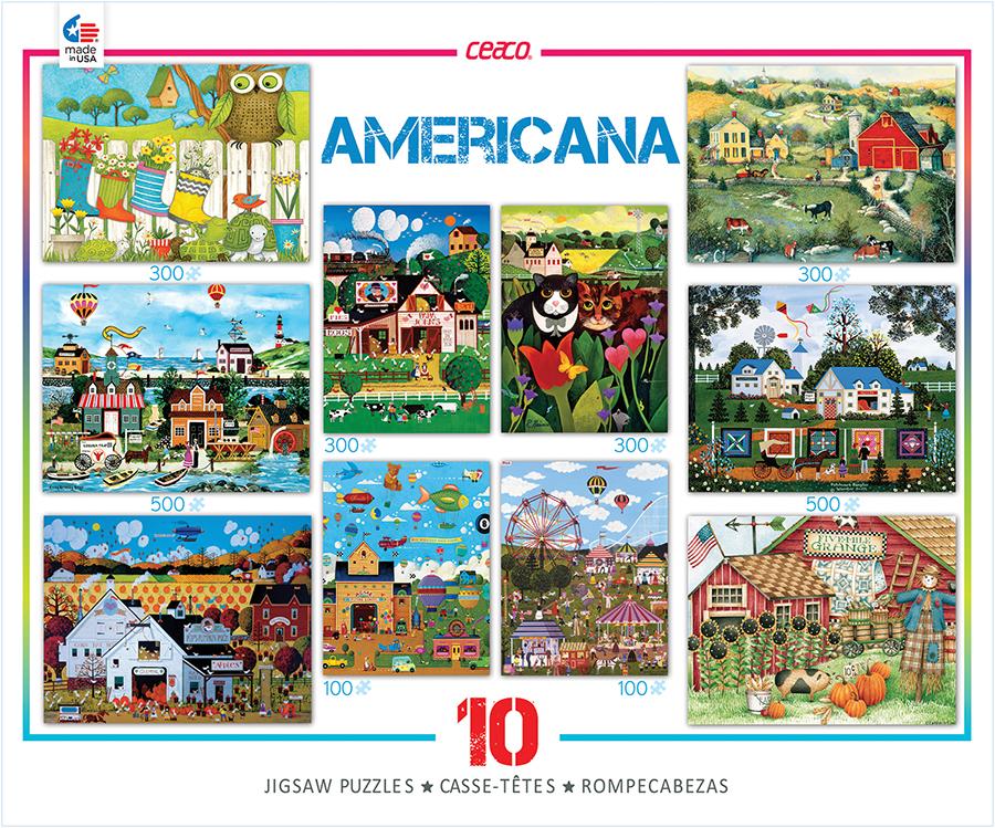 Americana 10-in-1 Multi-Pack - Scratch and Dent Americana & Folk Art Jigsaw Puzzle