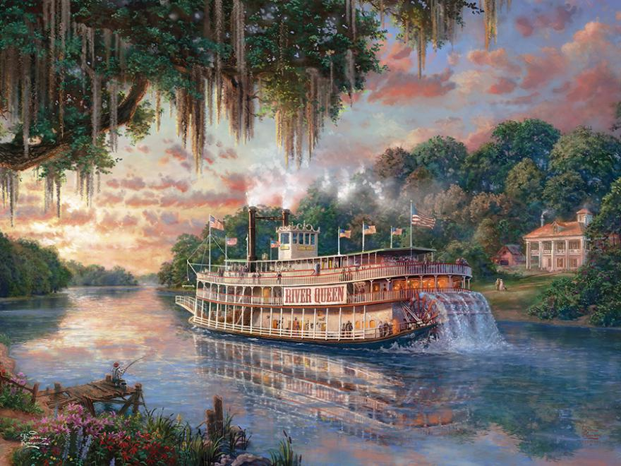 The River Queen (Thomas Kinkade Special Edition) Boats Glitter / Shimmer / Foil Puzzles