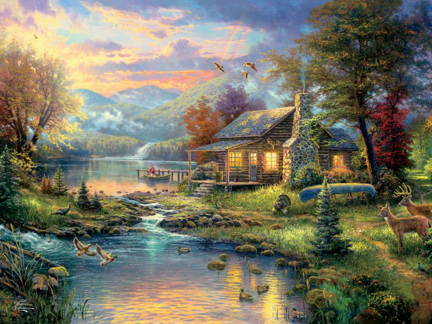 Nature's Paradise (Thomas Kinkade Special Edition) - Scratch and Dent Lakes / Rivers / Streams Glitter / Shimmer / Foil Puzzles