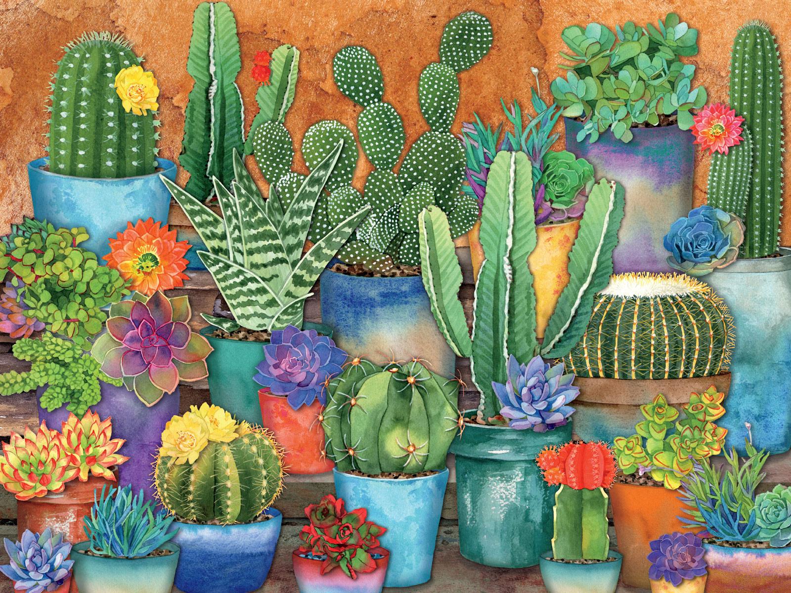 Cactus Pots Flowers Jigsaw Puzzle