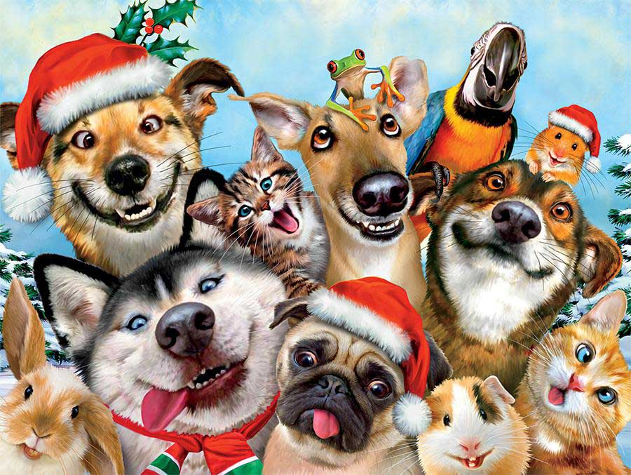 Christmas Doggy Selfie (Selfies) Cats Jigsaw Puzzle