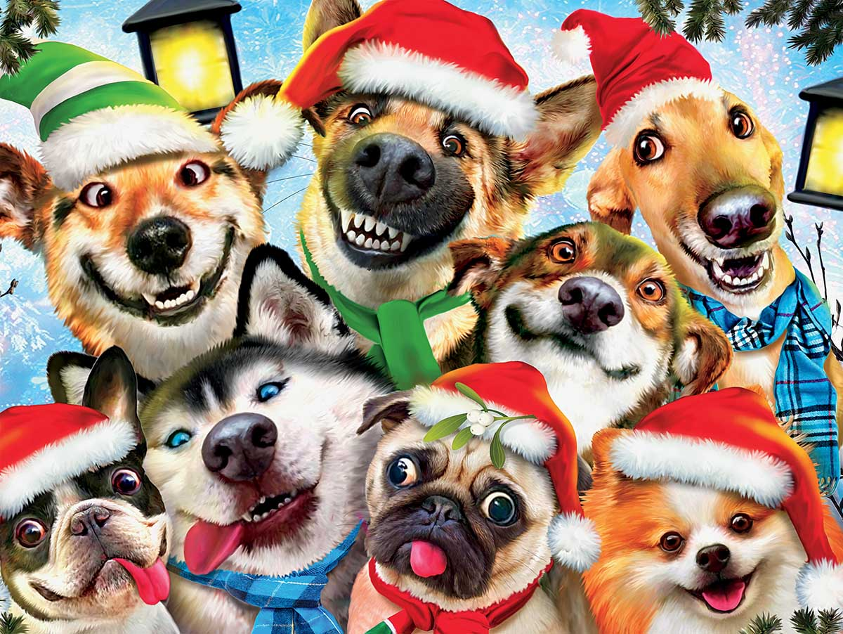Christmas Dog Selfie Dogs Jigsaw Puzzle