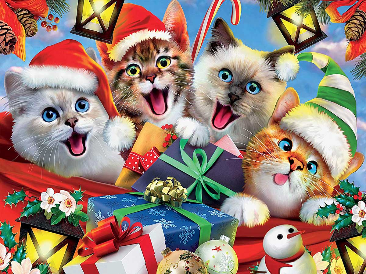 Kitty Holiday Selfies Cats Jigsaw Puzzle