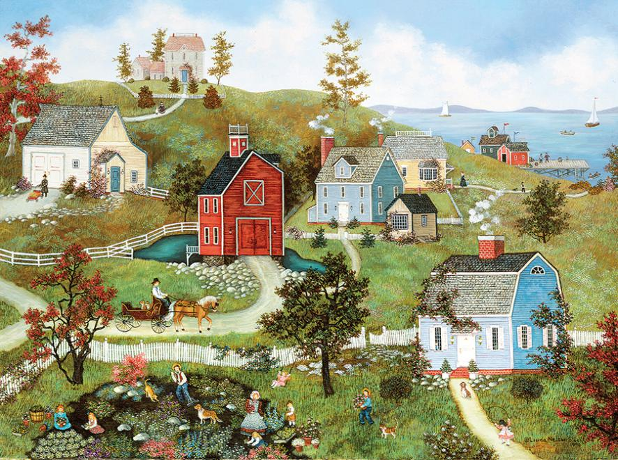 Village At The Bay Jigsaw Puzzle Puzzlewarehouse Com