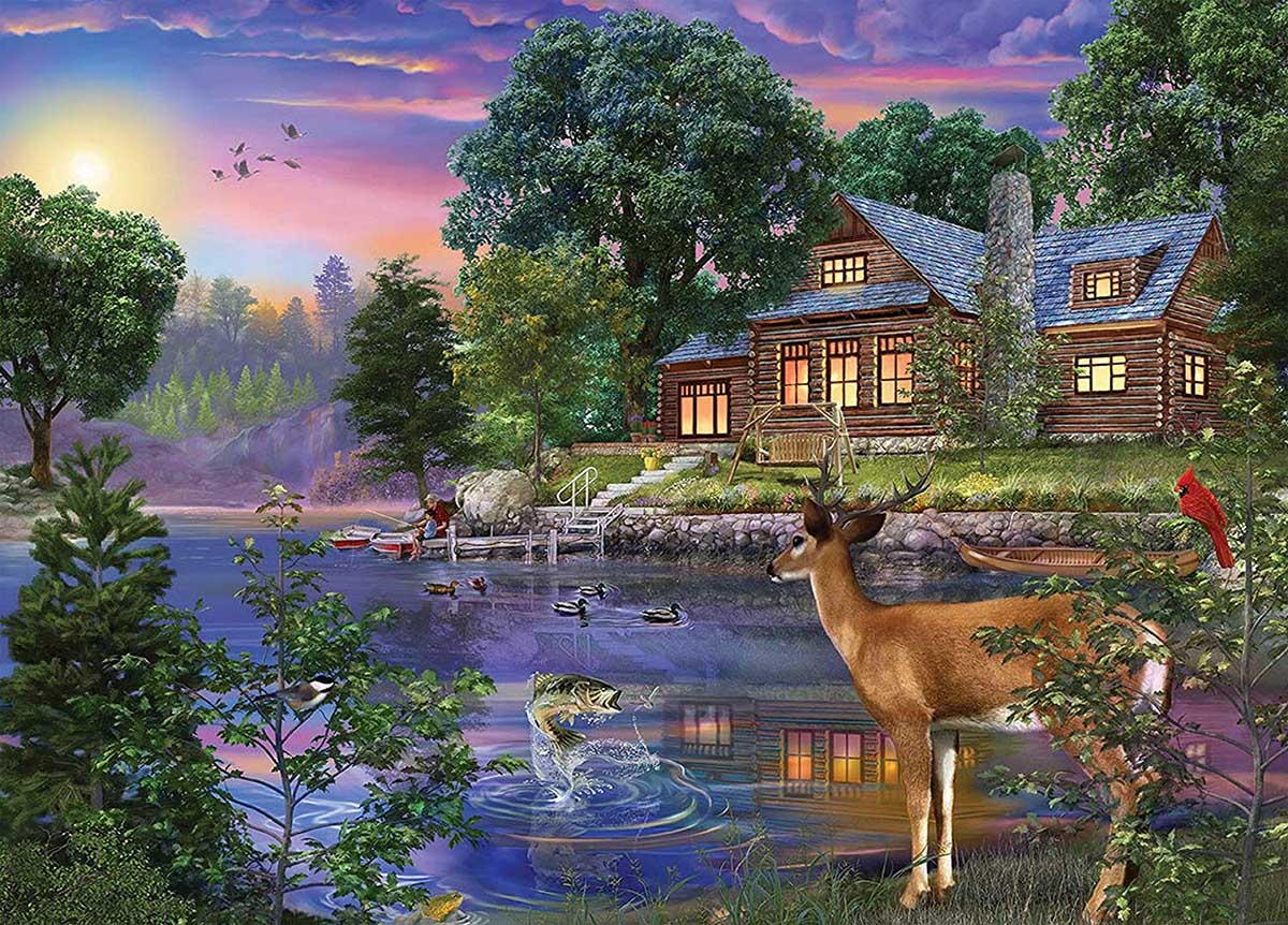 White Tail Deer Lakehouse Lakes / Rivers / Streams Jigsaw Puzzle