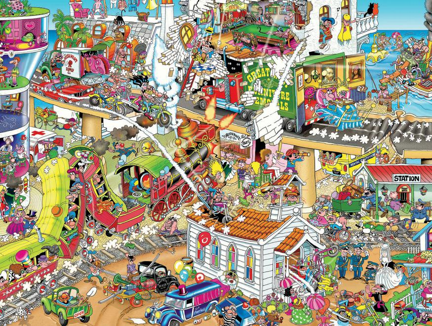 who started this mess 1500 piece puzzles jigsaw puzzle. Black Bedroom Furniture Sets. Home Design Ideas