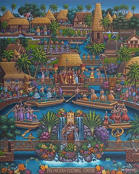 Polynesian Cultural Center Folk Art Jigsaw Puzzle