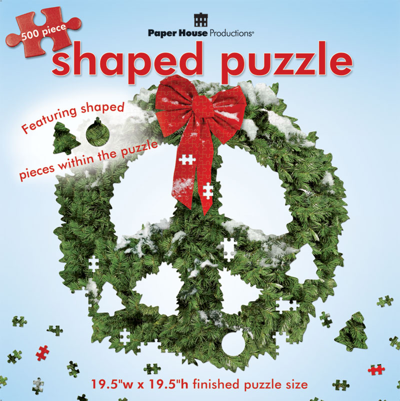 Peace Sign - Wreath Christmas Jigsaw Puzzle