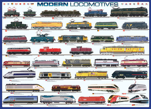 Modern Locomotives Pattern / Assortment Jigsaw Puzzle