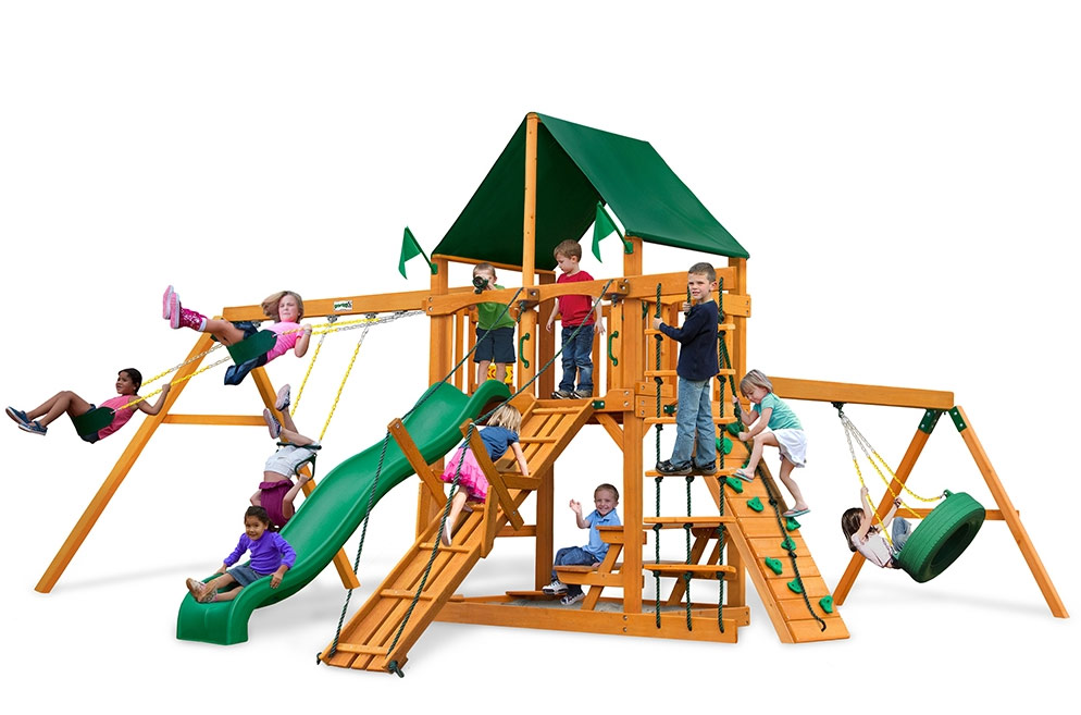 Frontier Supreme Swing Set with Amber Posts and Green Canvas Canopy  sc 1 st  PlayOutdoors.com & Frontier Supreme Swing Set with Amber Posts and Green Canvas ...