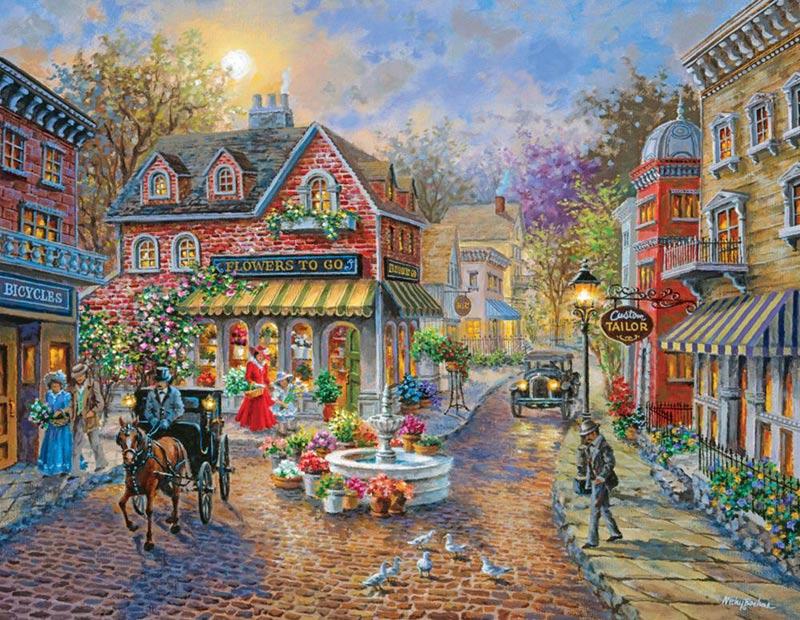 Puzzles to Remember - Cobblestone Village - 36 pc Nostalgic / Retro Jigsaw Puzzle