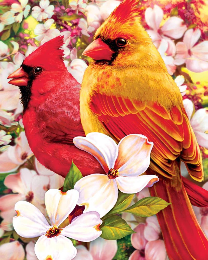 Puzzles To Remember Springtime Cardinals 36 Pc Jigsaw