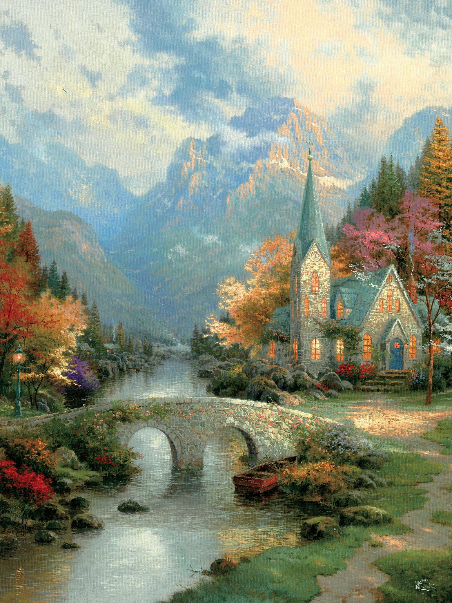 Mountain Chapel  (Thomas Kinkade Inspirations) Religious Jigsaw Puzzle