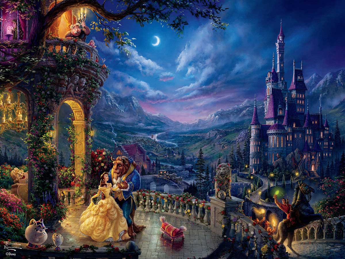 Beauty and the Beast in the Moonlight Disney Jigsaw Puzzle