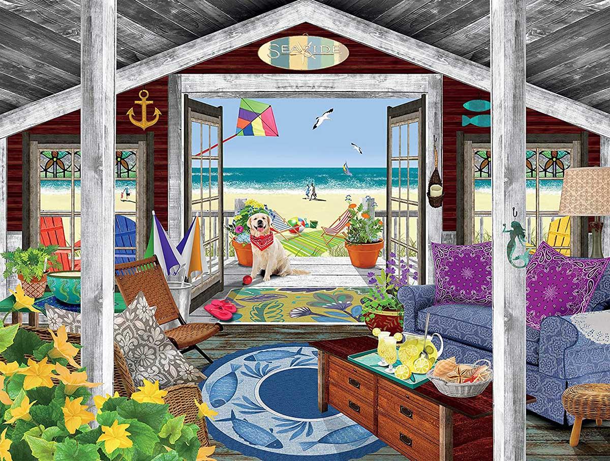 Beach Cottage Beach Jigsaw Puzzle