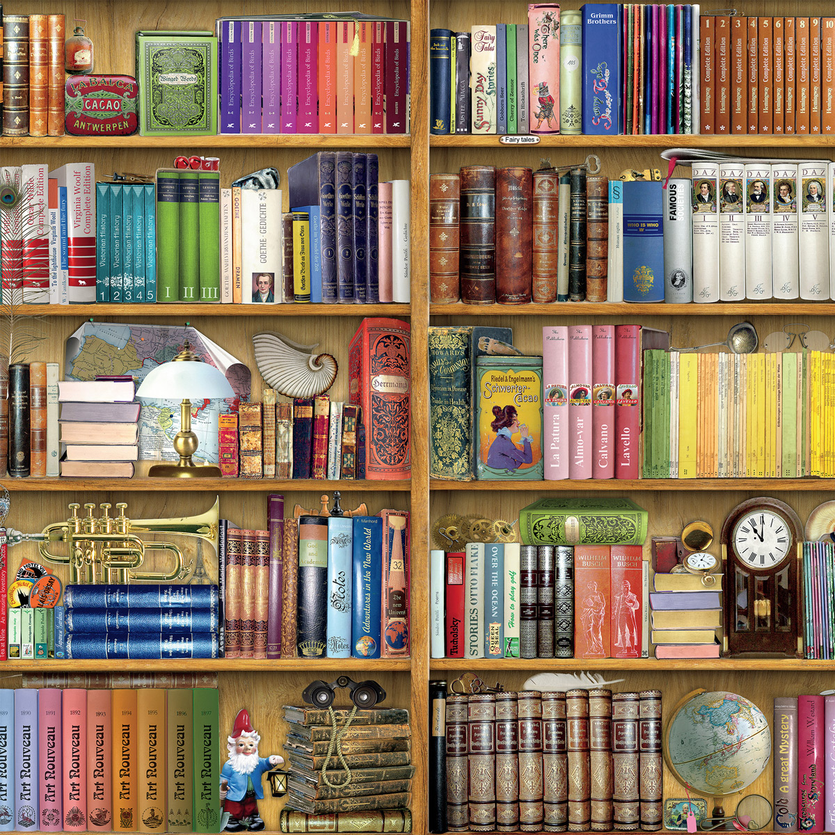 Library Shelf Bookshelves Jigsaw Puzzle