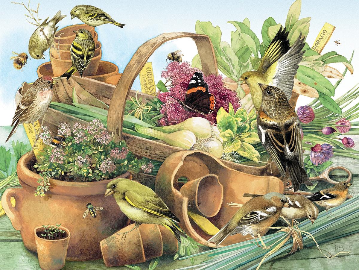 Clay Pots Birds Jigsaw Puzzle