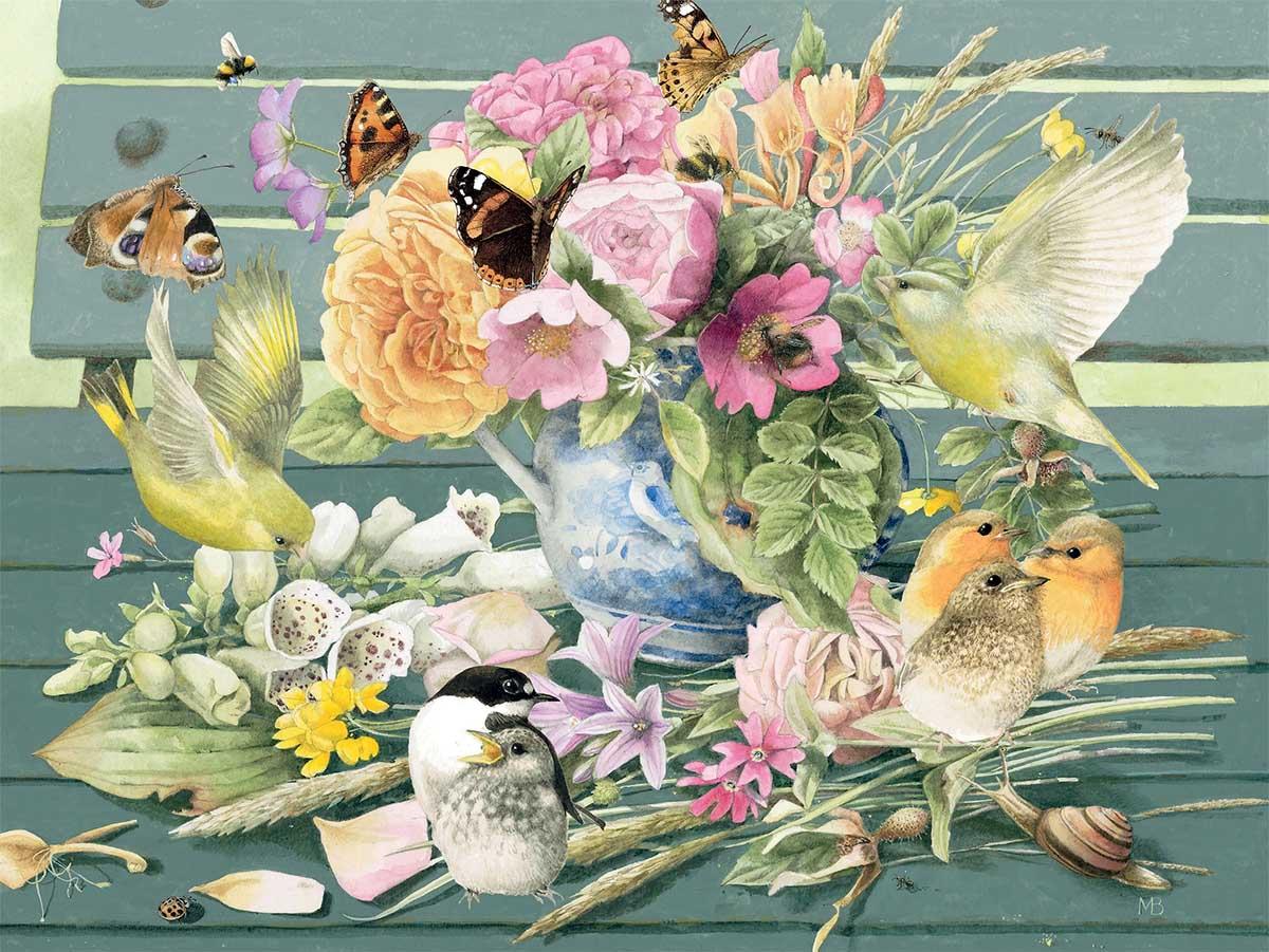 Blue Vase Birds Jigsaw Puzzle