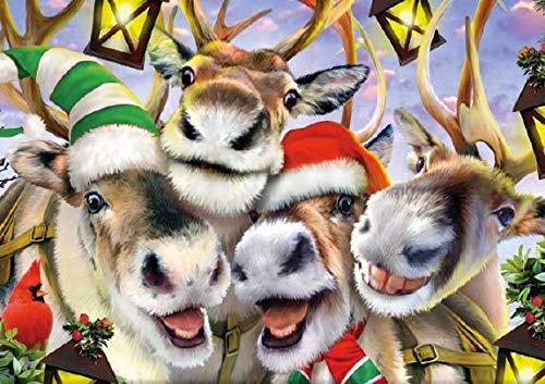 Reindeer Selfies Animals Jigsaw Puzzle