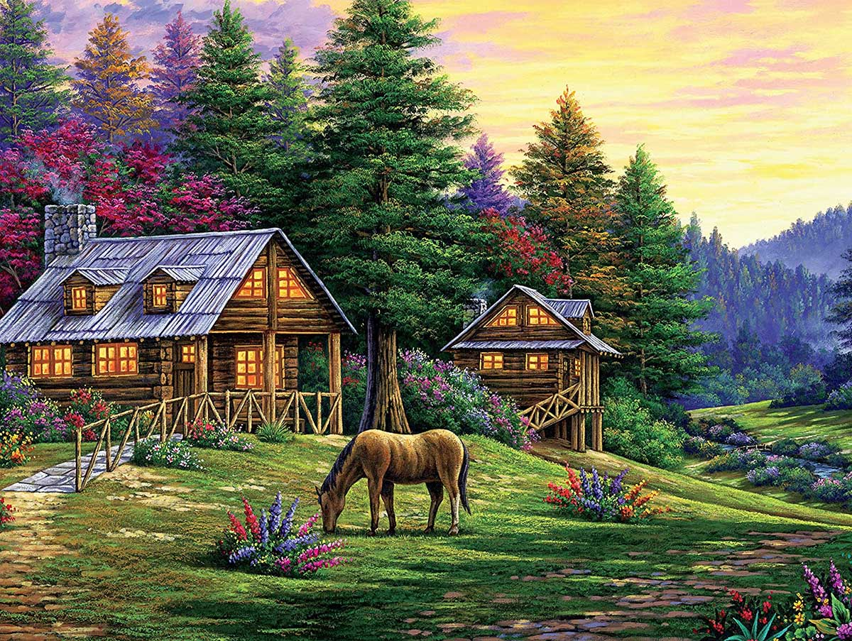 Rock of Wolves Horses Jigsaw Puzzle