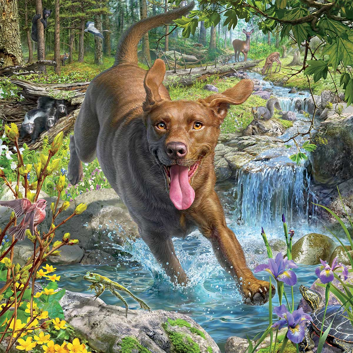 Chocolate Lab Dogs Jigsaw Puzzle