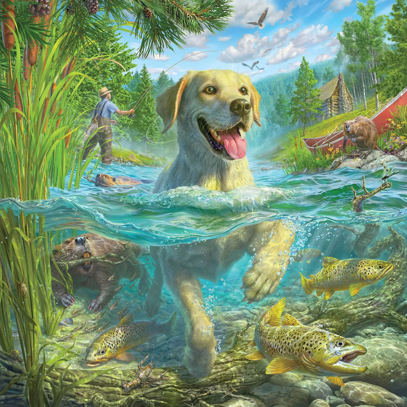 Gone Fishing Dogs Jigsaw Puzzle