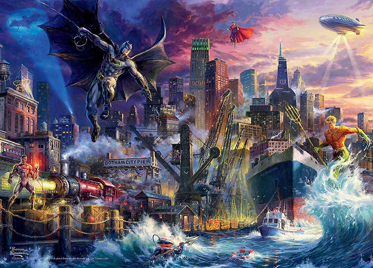 Gotham Pier Showdown Super-heroes Jigsaw Puzzle