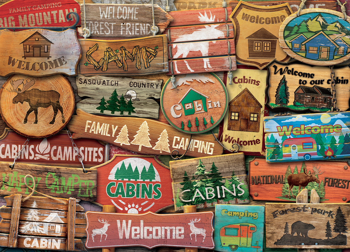 Rustic Lodge Signs Countryside Jigsaw Puzzle