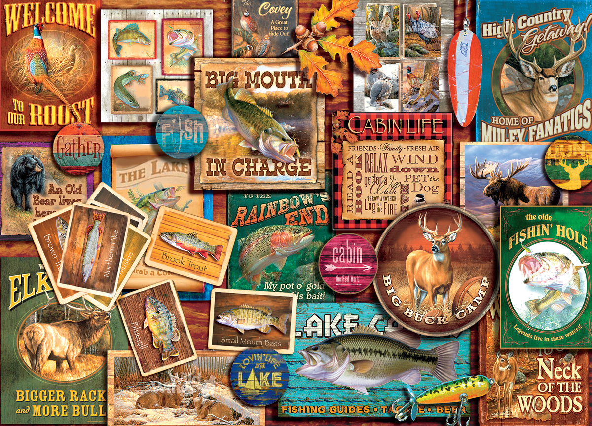 Rustic Lodge Fish and Game Countryside Jigsaw Puzzle