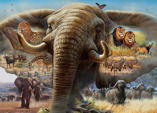 Elephant Collage Jungle Animals Jigsaw Puzzle