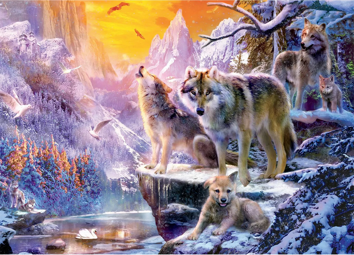 Winter Wolf Family Mountains Jigsaw Puzzle