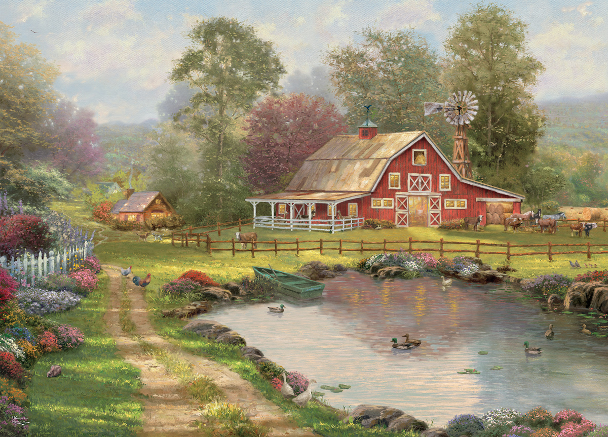 Red Barn Retreat Farm Jigsaw Puzzle