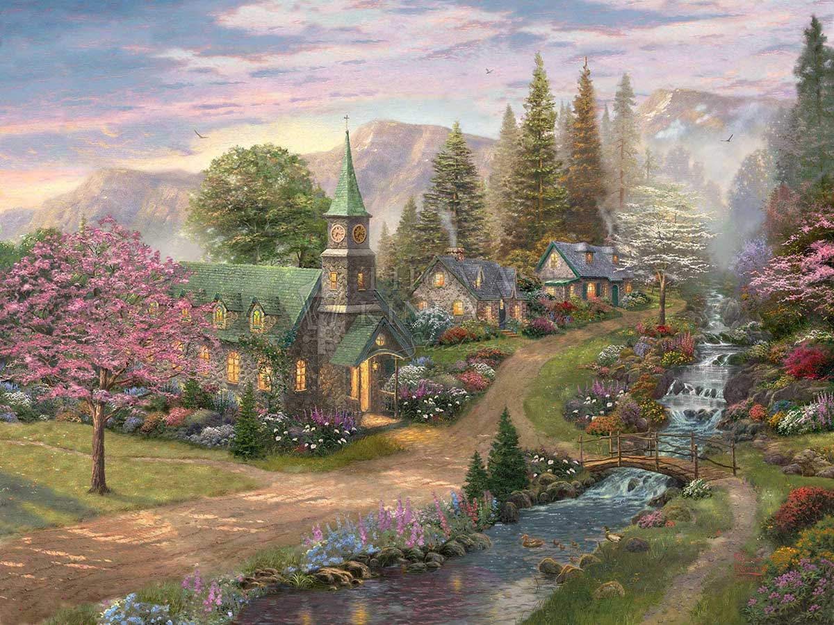 Sunday Morning Chapel Mountains Jigsaw Puzzle