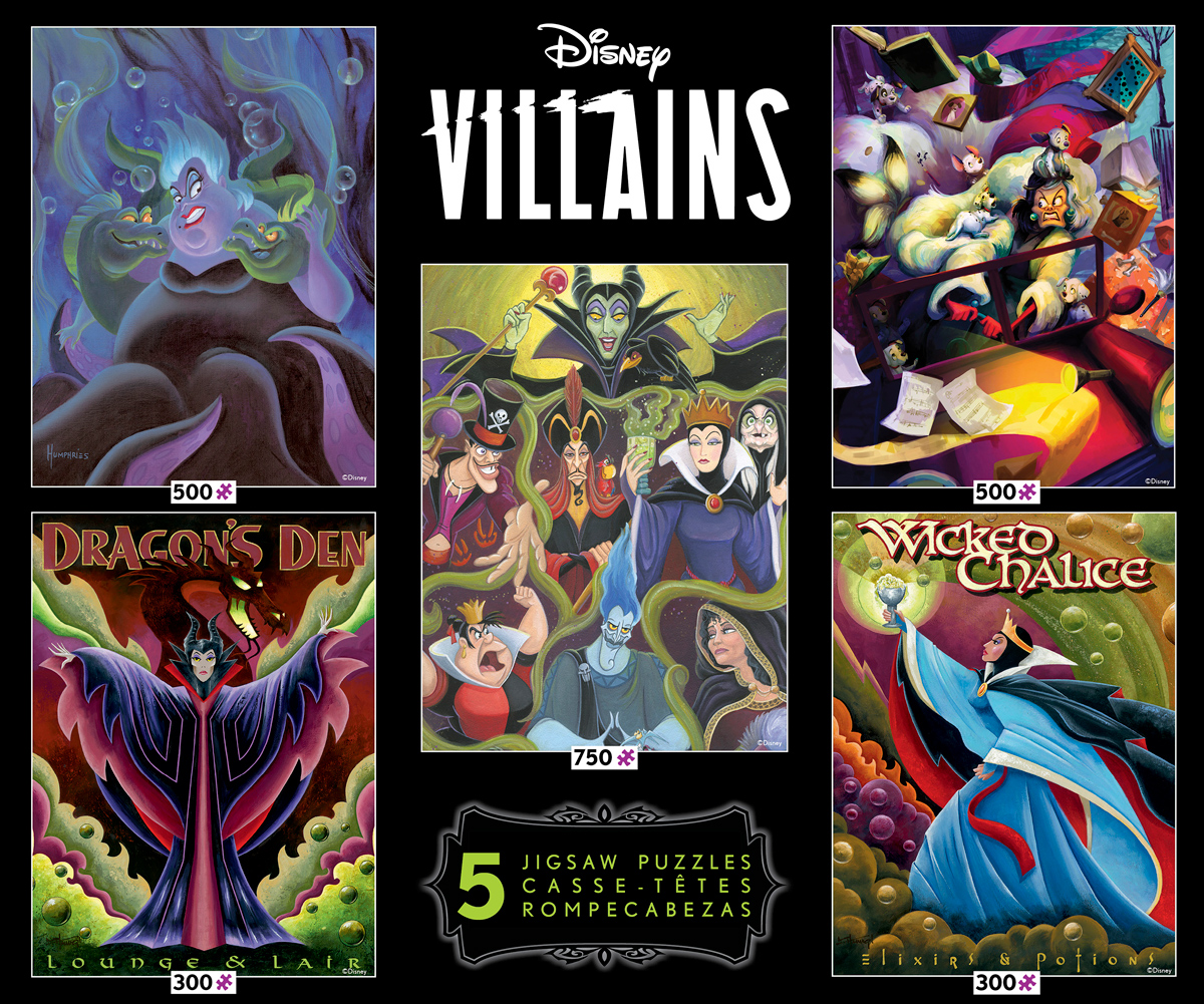 Disney Villains 5 in 1 Multipack Puzzle Set - Scratch and Dent Disney Jigsaw Puzzle