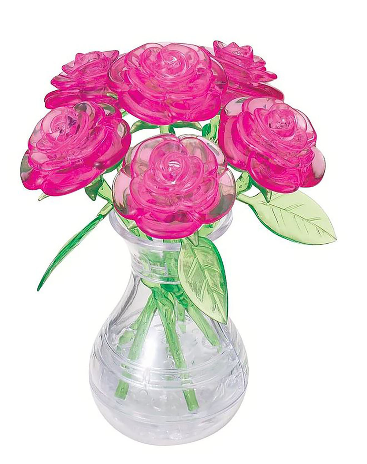 Pink Roses in a Vase Flowers 3D Puzzle