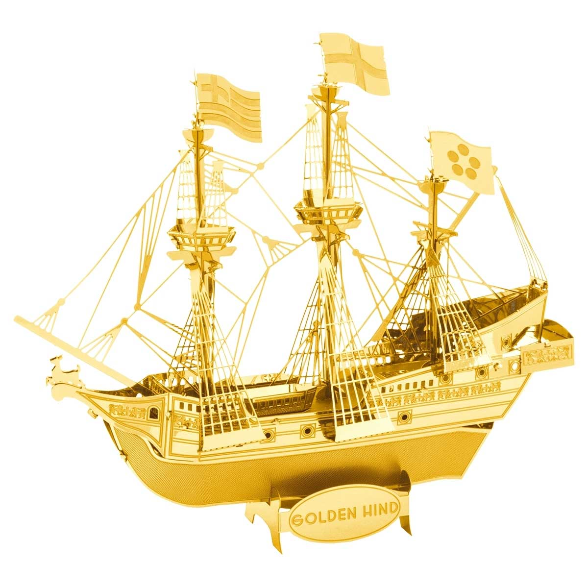 Gold Golden Hind ship Boats Metal Puzzles