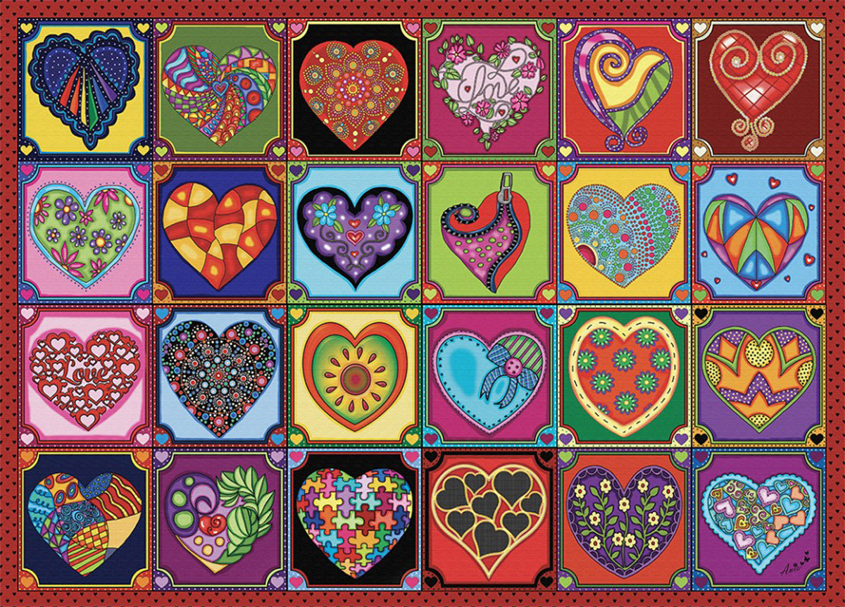 Quilted Hearts Collage Jigsaw Puzzle